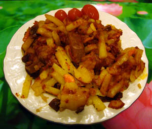 Свинина с грибами и картошкой
