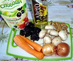 Продукты для слоеного салата с шампиньонами
