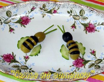 Пчелки из маслин и оливок