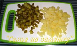 Картофель и огурец для салата Русь