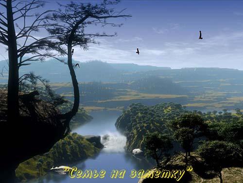 Ожившая фотография Река с водопадом