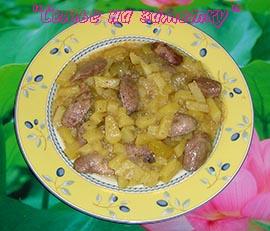 Картошка с куриными сердечками