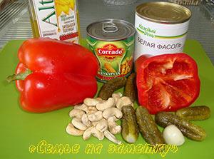 Ингредиенты салата с фасолью и кукурузой