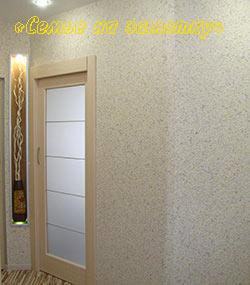 Раздвижная дверь и стена с жидкими обоями