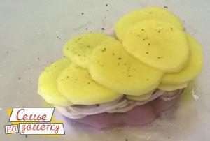 Мясо шампиньоны лук картошка