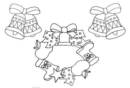 Детская раскраска Новогодний венок и колокольчики