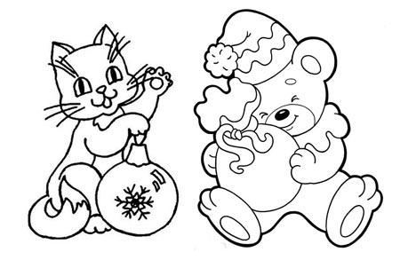 Детская новогодняя раскраска Котик и Мишка