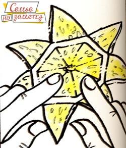 Украшение из лимона в виде звезды