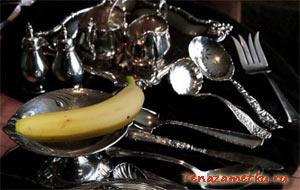 Как почистить серебро банановой кожурой
