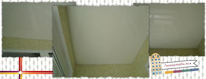 Белый глянцевый потолок на лоджии из пластиковых панелей
