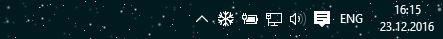 Падающий снег на панель задач