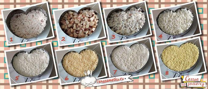 Слои салата с курицей и маринованными грибами