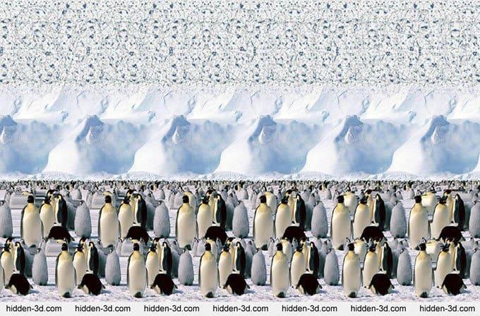 Смотреть объемную картинку пингвины