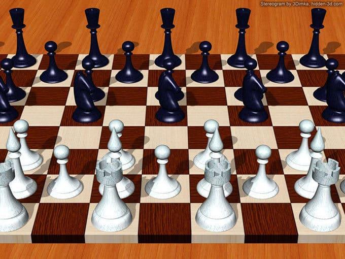 Перекрестная стереокартинка шахматы