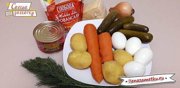 Салат с рыбными консервами продукты