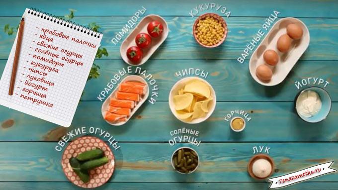 Ингредиенты салата с крабовыми палочками на чипсах