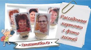 Рассадочные карточки с фото гостей