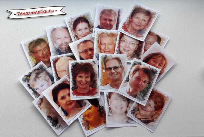 Рассадочные банкетные карточки с фотографиями гостей