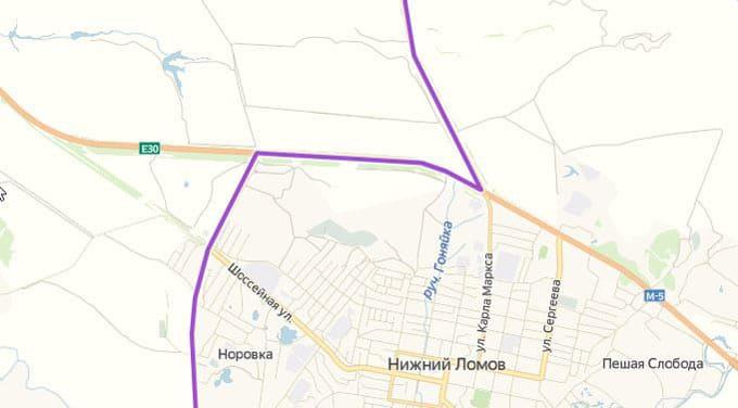 Детализация маршрута на юг из Нижнего Новгорода через Арзамас