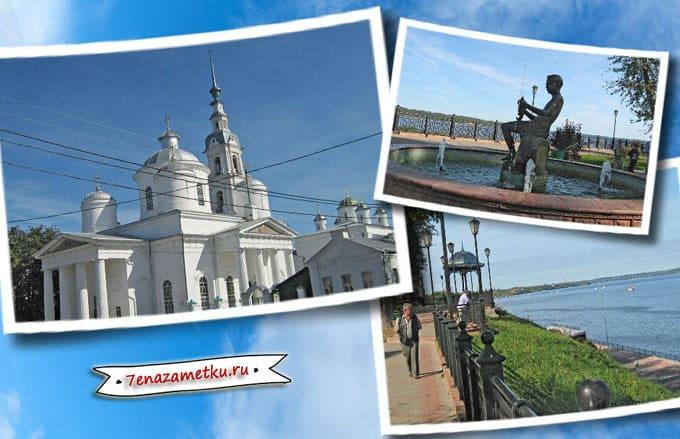 Кинешма. Успенский кафедральный собор, набережная, беседка, фонтан